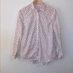 White Cotton Blouse with Red/Pink Hearts